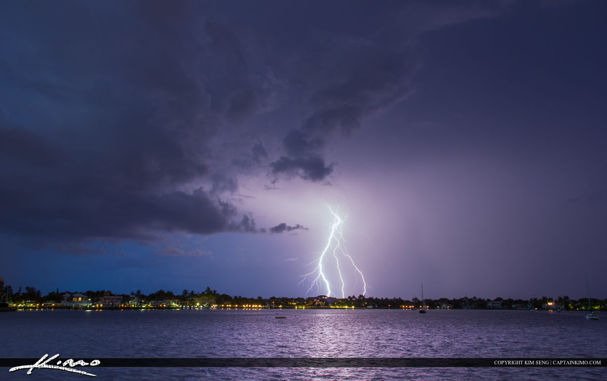 Lightning strike over the Lake Worth Lagoon