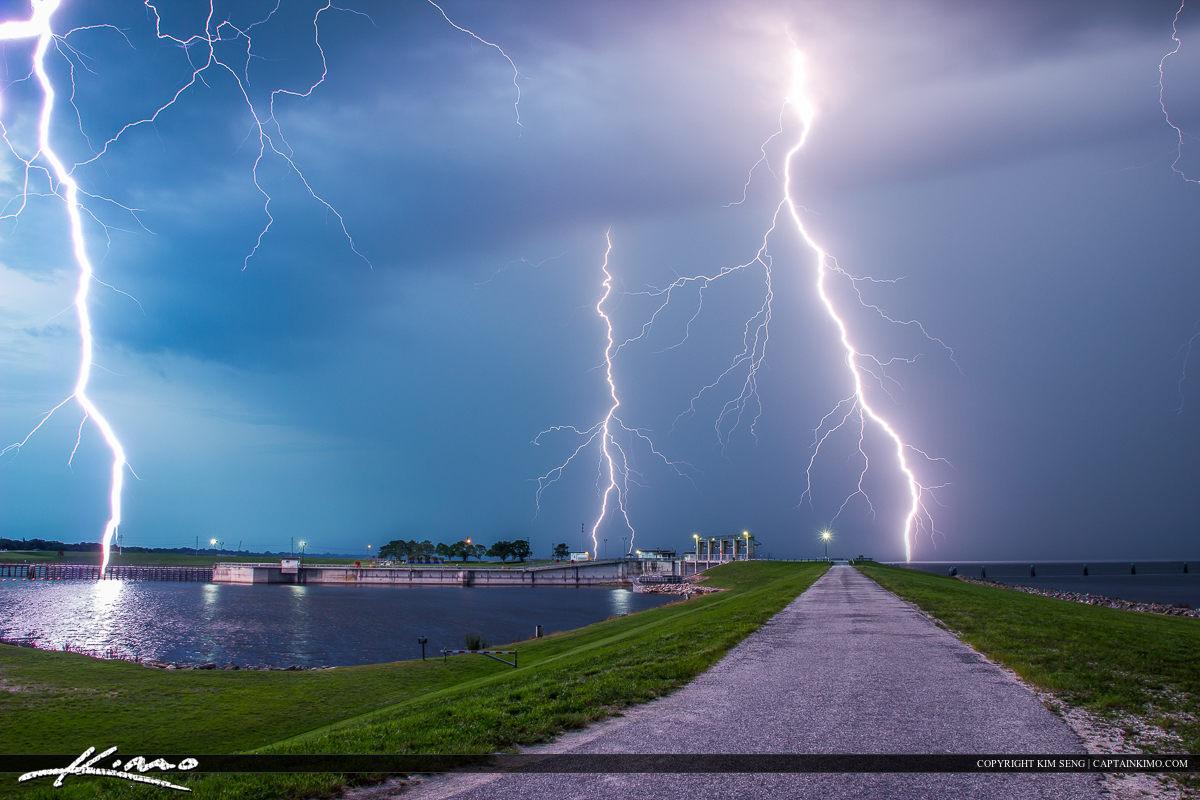Lightning Storm Over Lake Okeechobee Port Mayaca