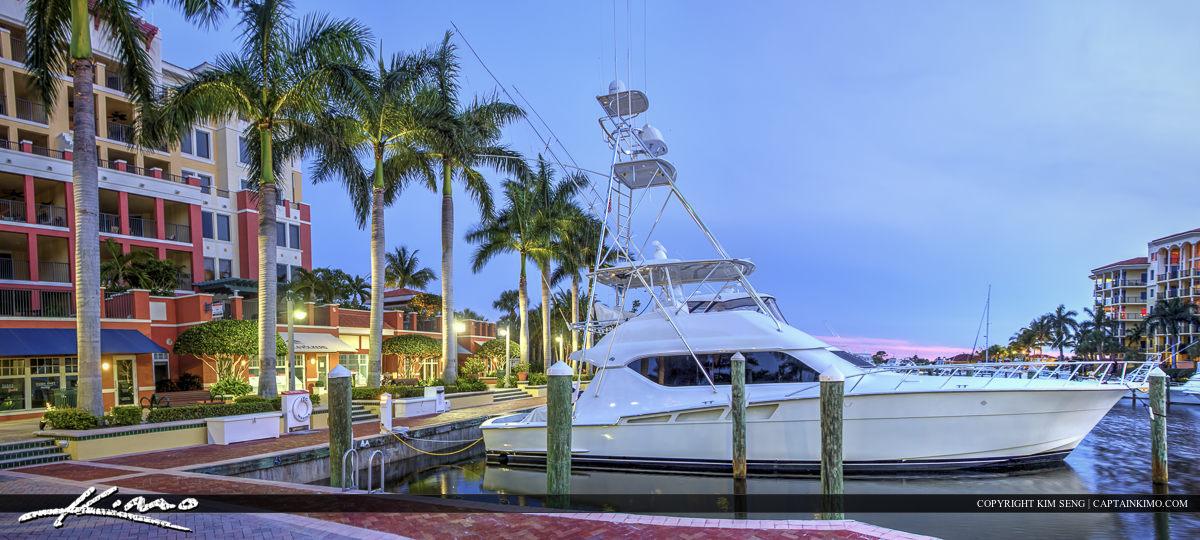 Large yacht boat dock at the Riverwalk Marina Jupiter Florida