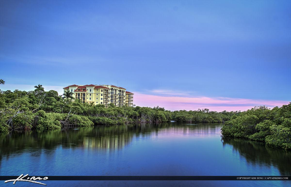 Jupiter waterway with condo along mangrove