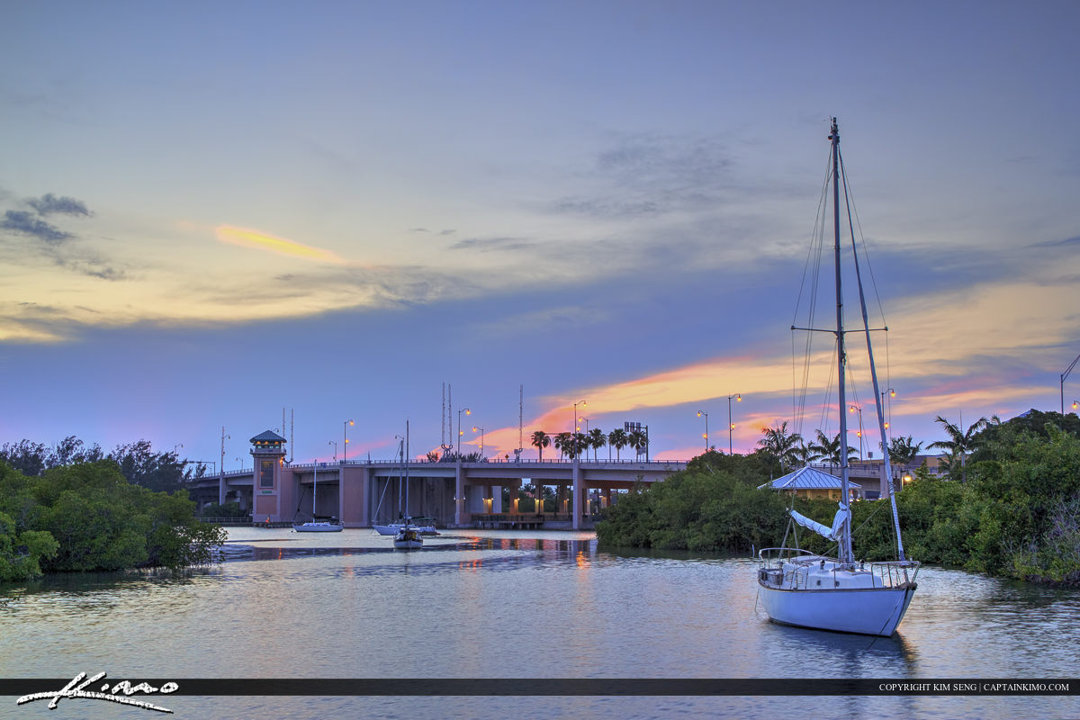 Jupiter Florida Indiantown Bridge with sailboat docked