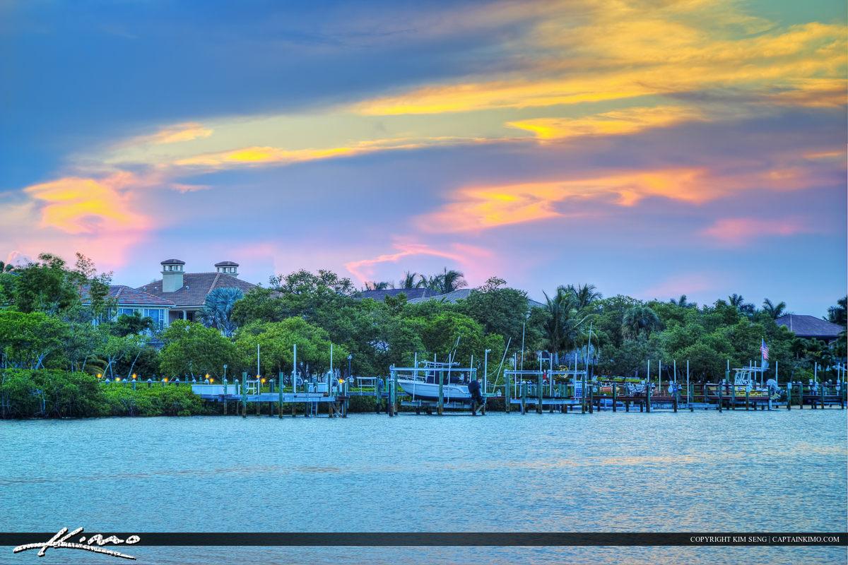 Intracoastal waterway in Jupiter Florida pink sky