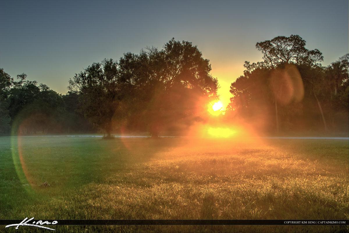 Foggy morning at Riverbend Park along the bacterial