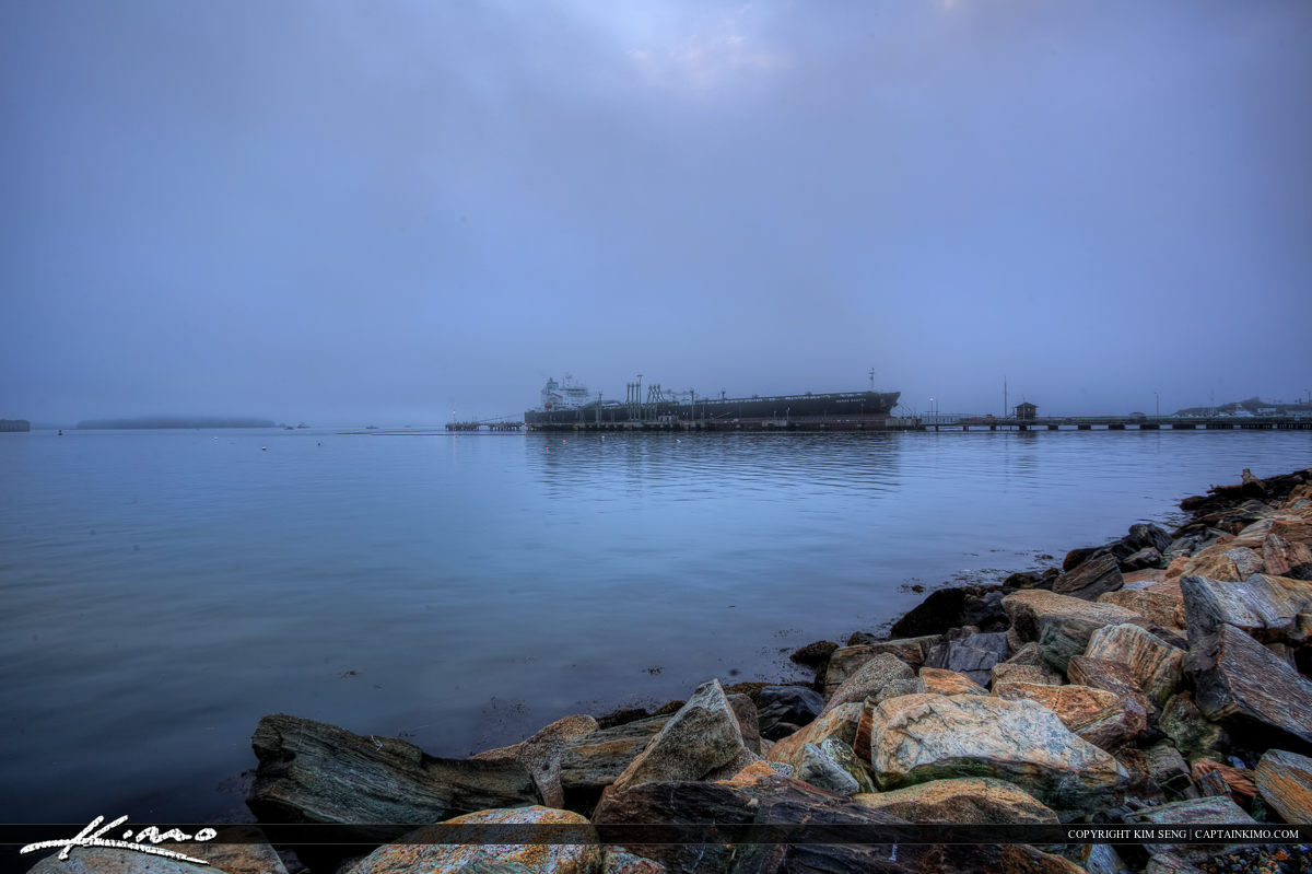 Cargo ship in the fog South Portland Maine