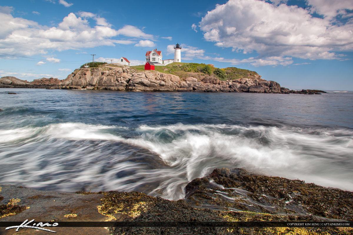 Cape Neddick Nubble Lighthouse Along Maine Coast