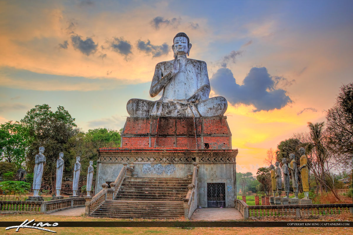 Buddha Warm Sunset Over Cambodia Fields