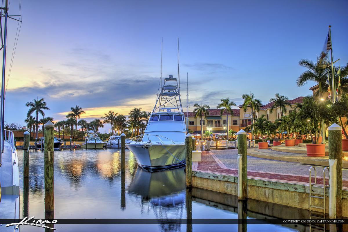 Boats docked off the Marina in Jupiter Florida