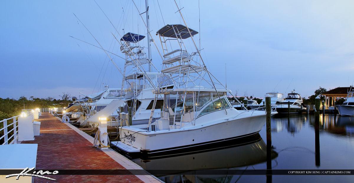 Boats docked at the Riverwalk in Jupiter Florida
