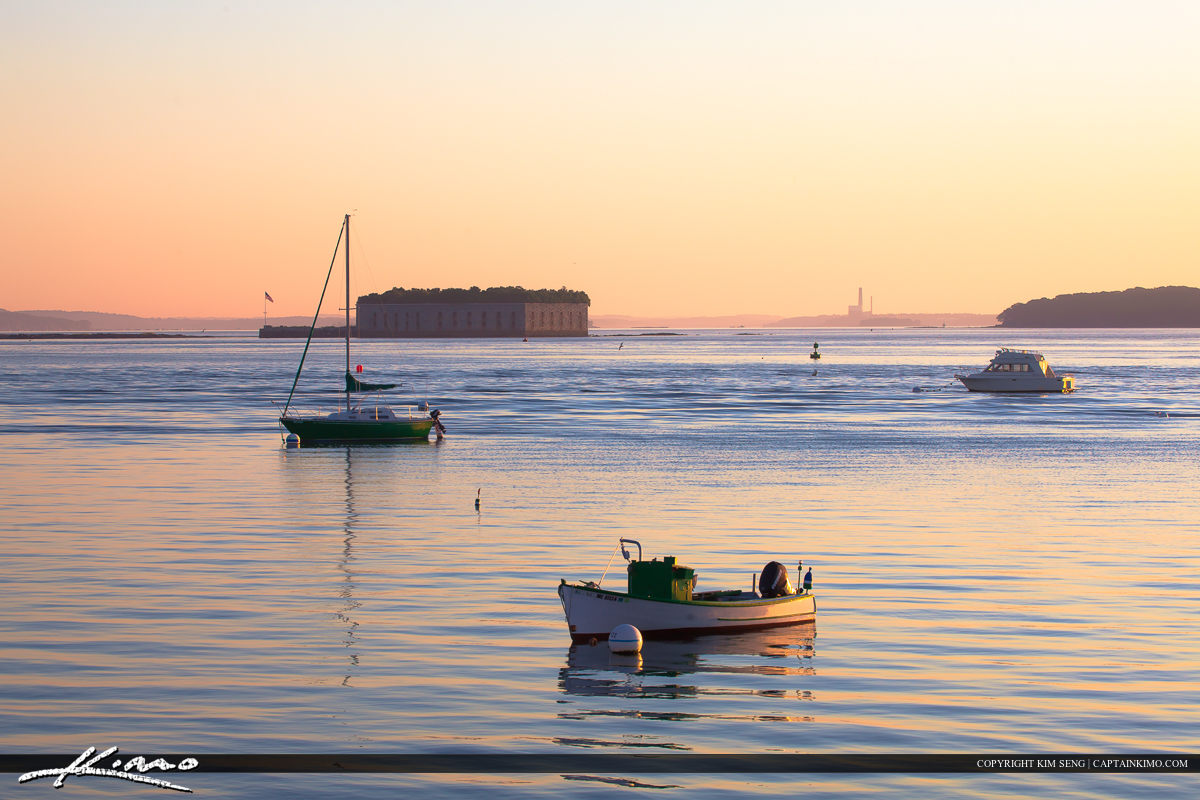 Boats anchored off Portland Harbor in South Portland Maine
