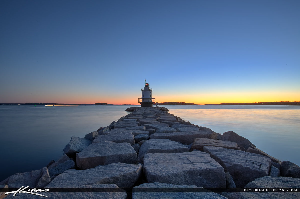 Beautiful blue colors at the spring point ledge lighthouse