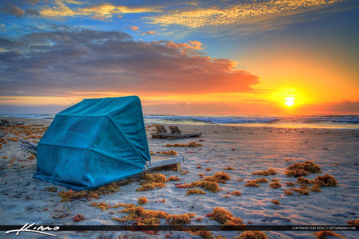 Beach Chair Sunrise at Singer Island Beach Florida