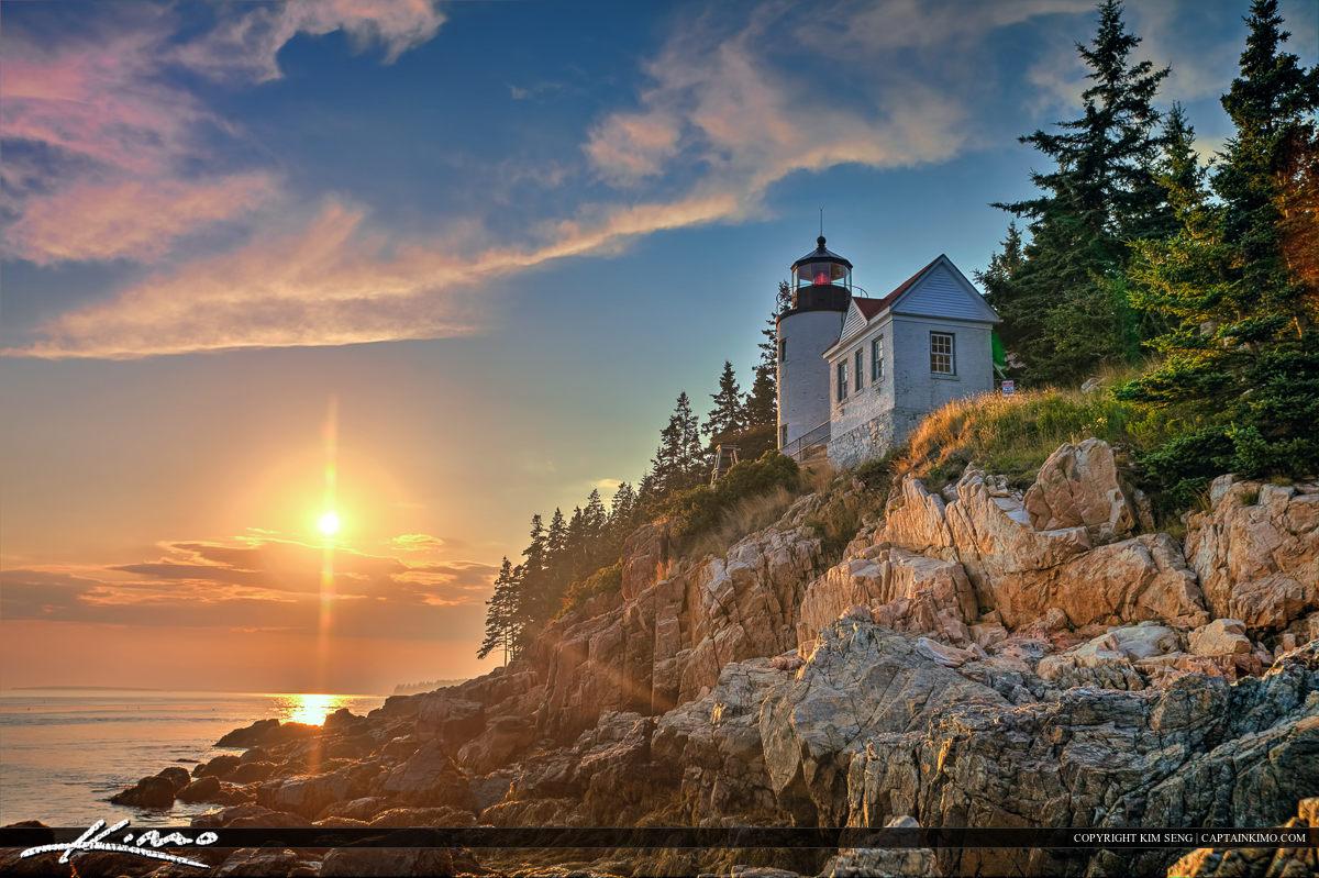 Bass Harbor lighthouse during sunset at Acadia National Park Mai