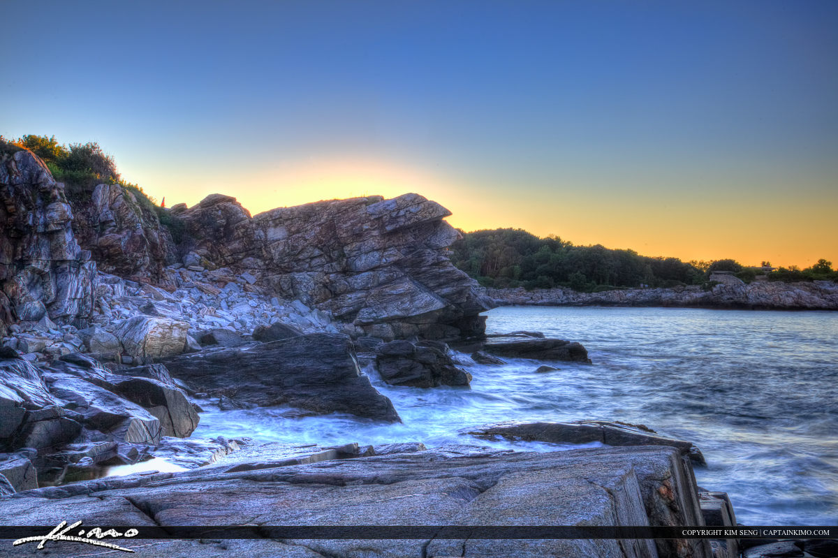 Along the rocky coast at Cape Elizabeth in Maine