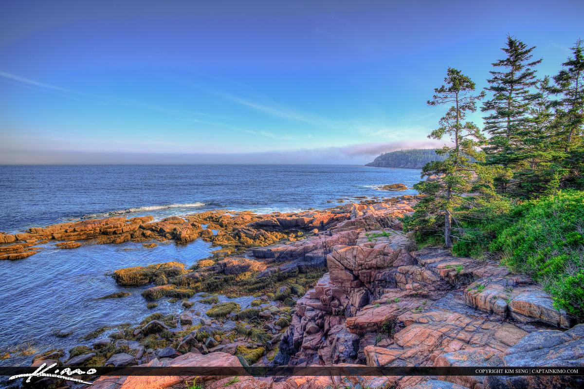 Above the ocean rocky coast Acadia national Park Maine