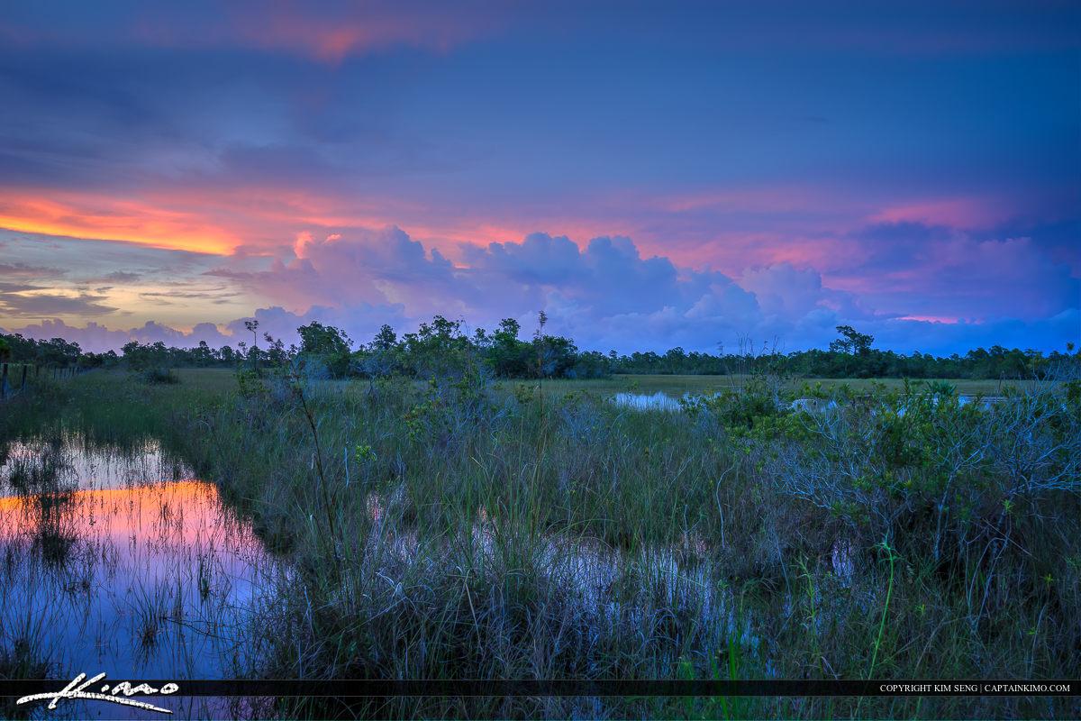 Wetlands at Jupiter Farms colors after sunset
