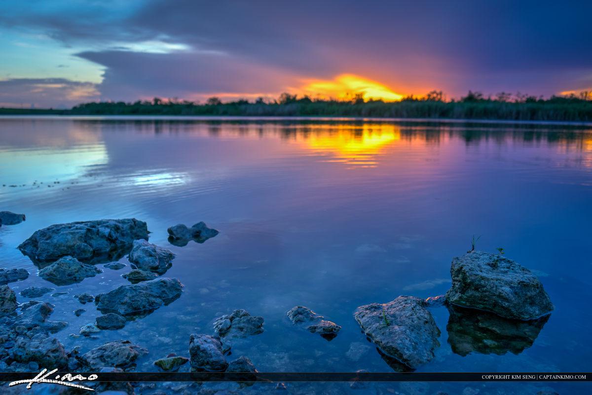 Sunset Over Lake Okeechobee Florida by Shore