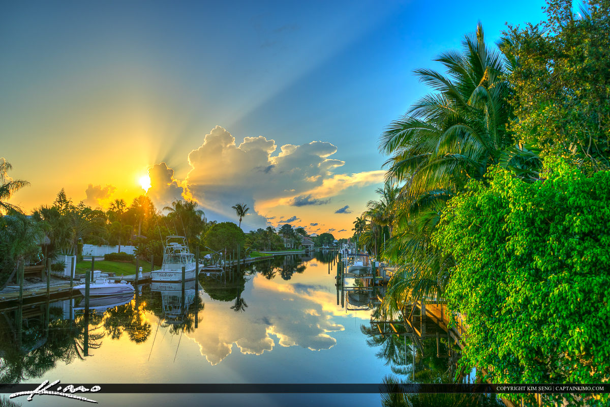 Sunrise Over Canal in Palm Beach Gardens