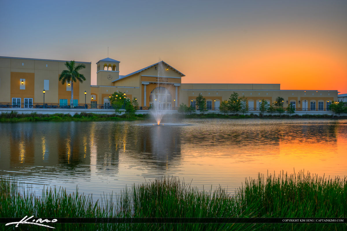 Port St. Lucie Civic Center sunset at Lake