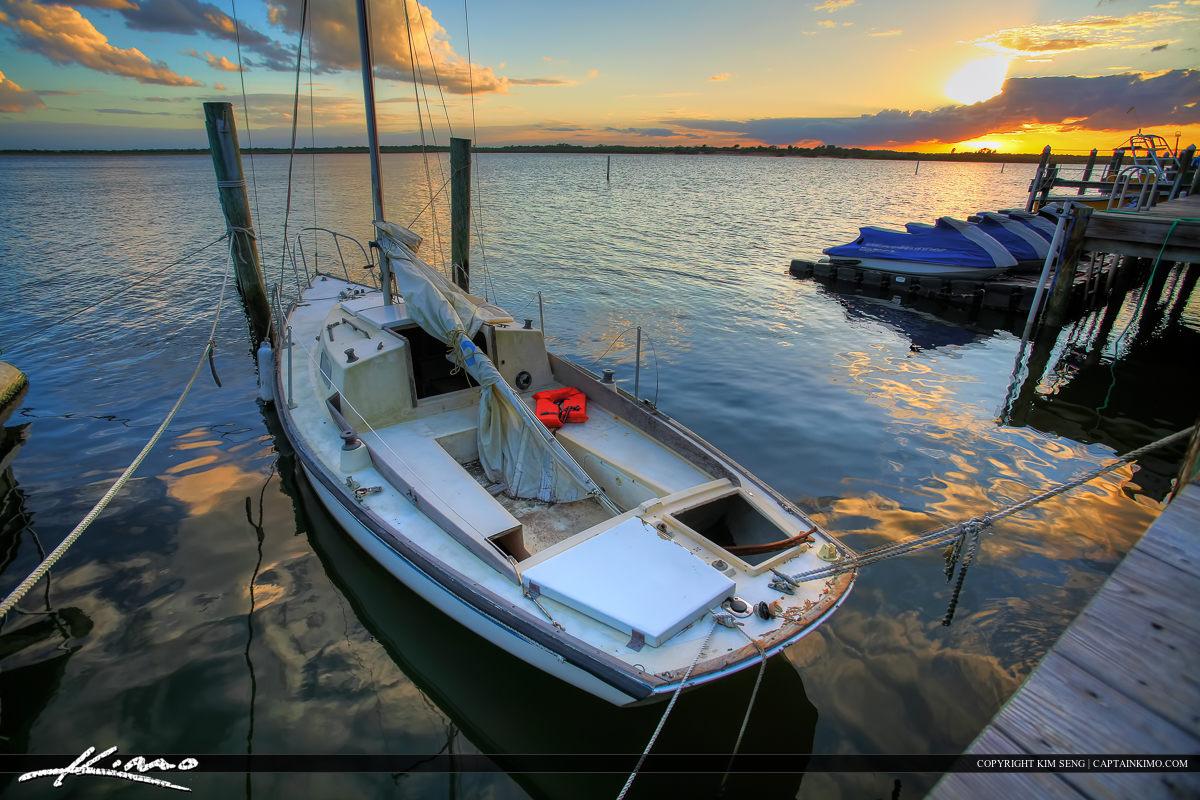 Ponce Inlet Marina Dock Sailboat at Sunset