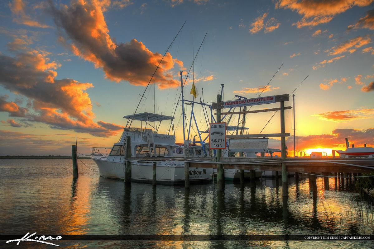 Ponce Inlet Marina Dock Fishing Boat at Sunset