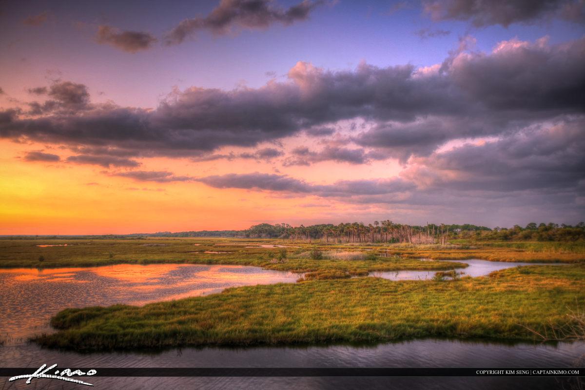 New Smyrna Beach Mosquito Lagoon Sunset Over Wetlands