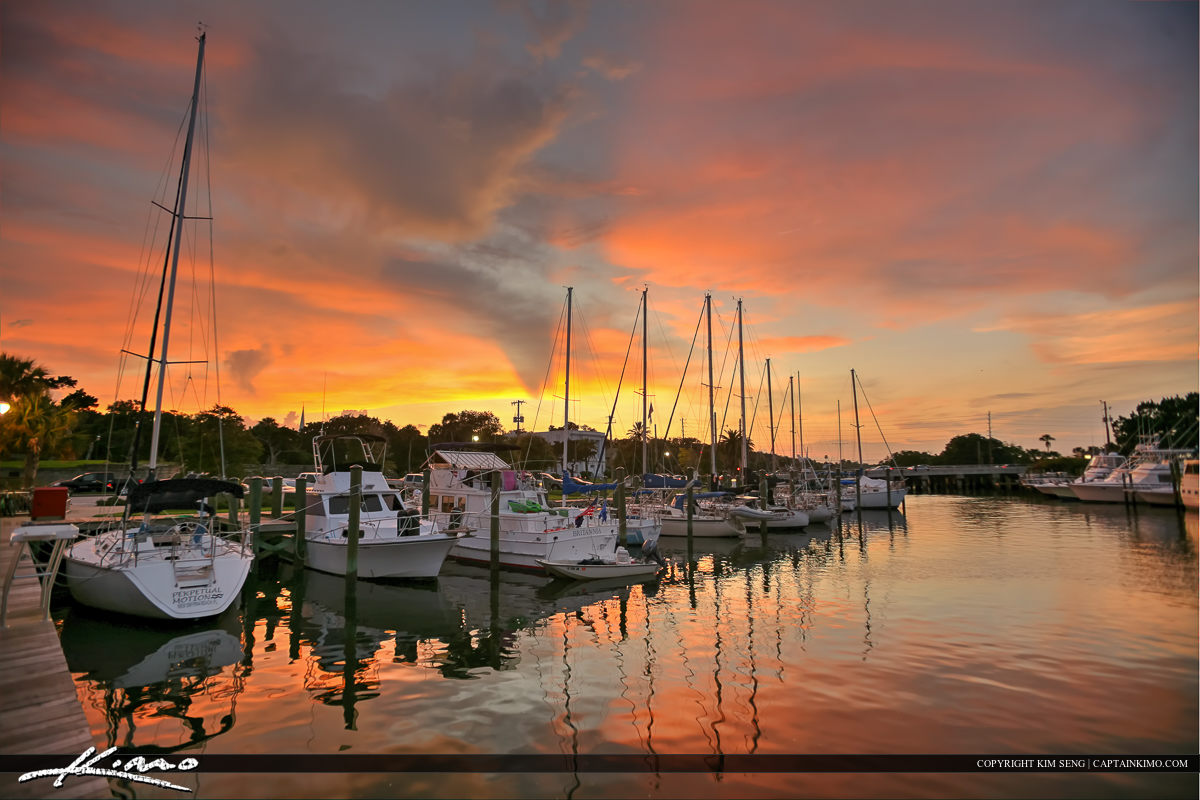 New Smyrna Beach Boat Dock Marina Sunset at the Bay