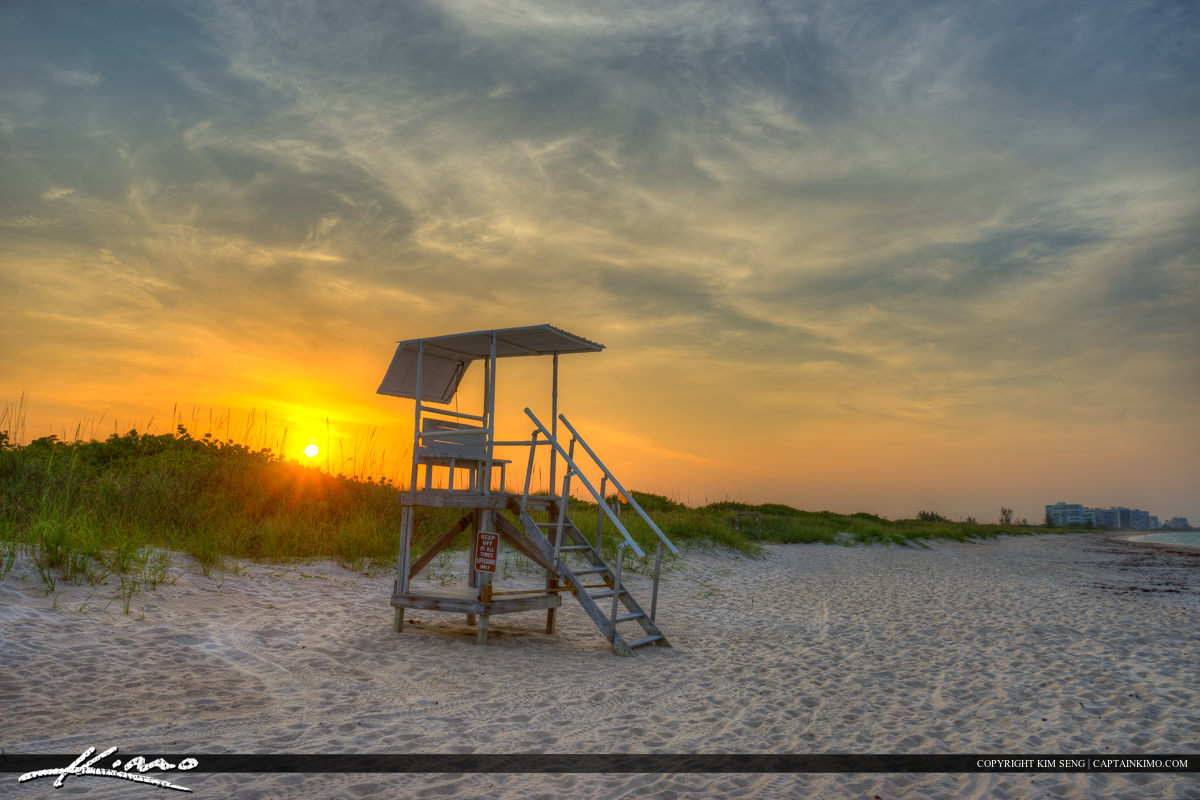 Lifeguard tower sunset at Fort Pierce Inlet State Park