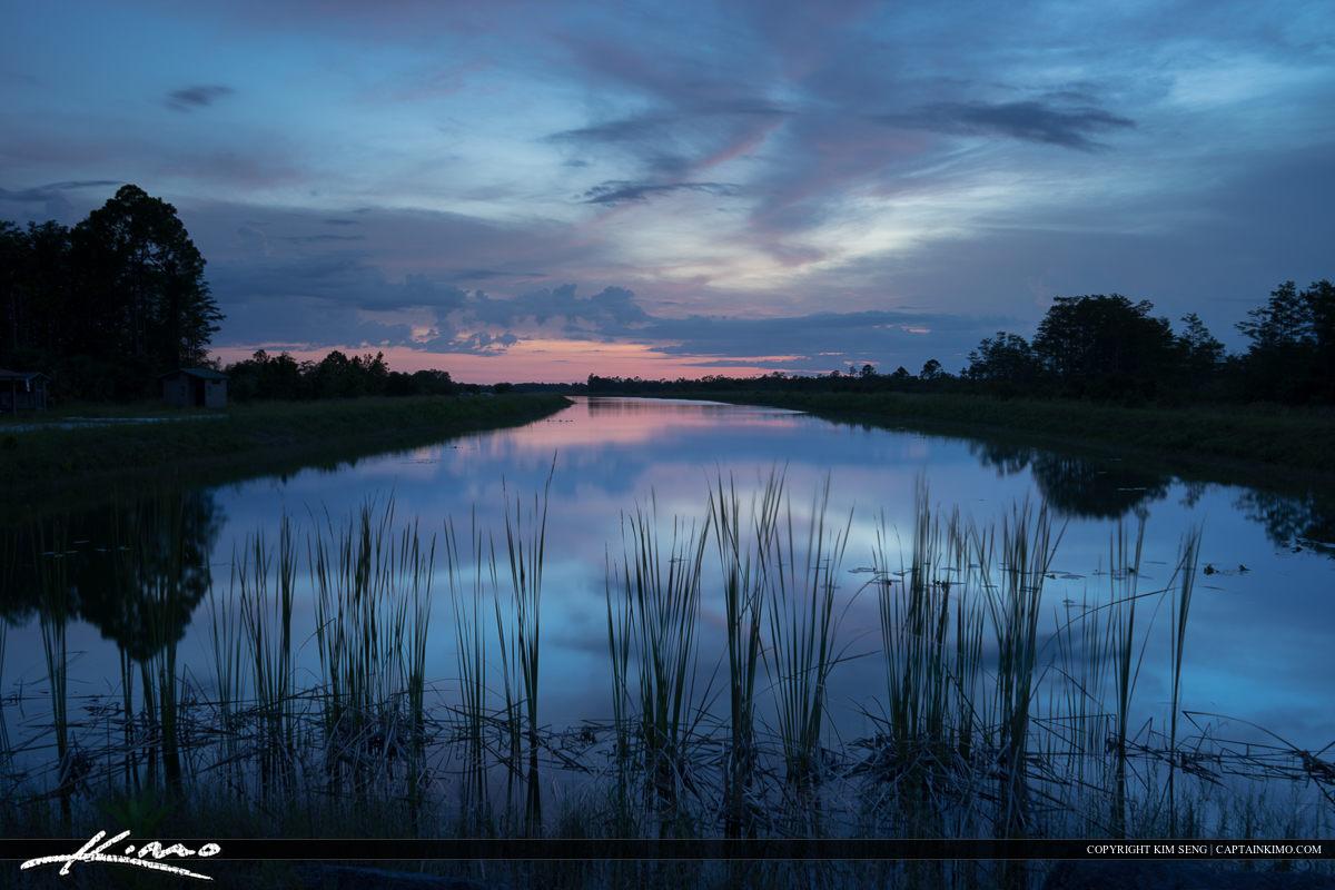 Hungryland Slough after sunset over wetlands