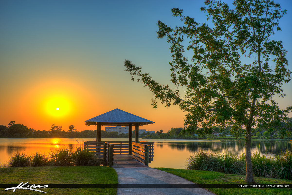 Hillmoor Lake Park during sunset at Port St. Lucie Florida