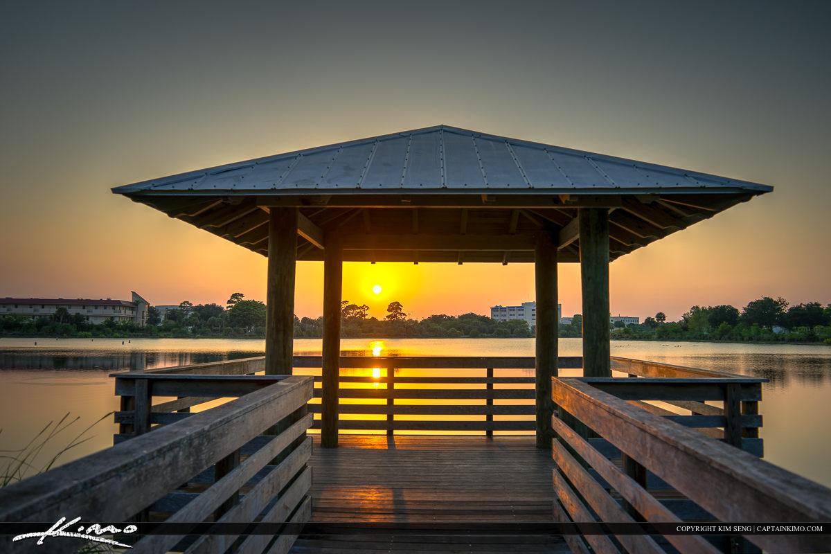 Gazebo sunset at Hillmoor Park Port St. Lucie Florida