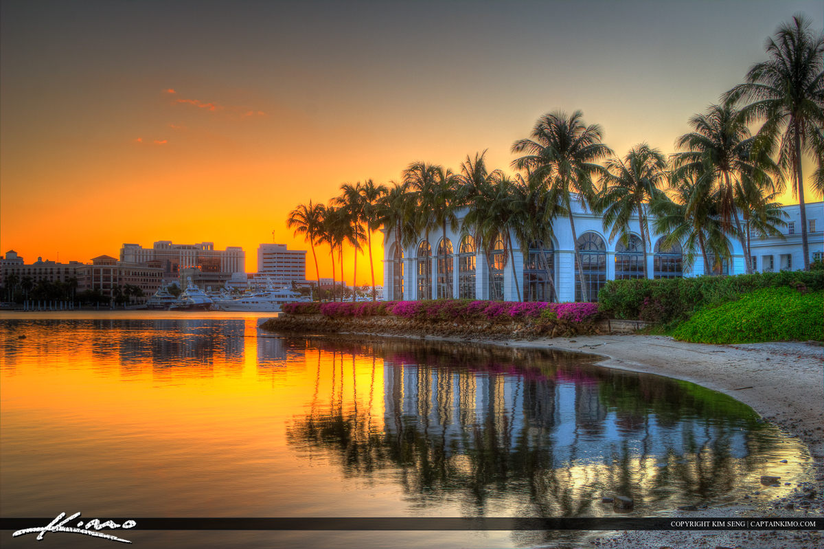 Flagler Museum Sunset at Waterway Palm Beach County