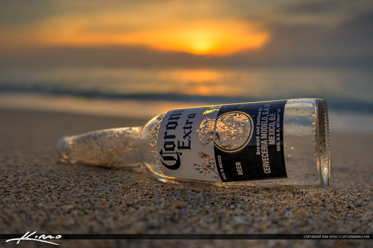 Corona Bottle at Beach Sunrise