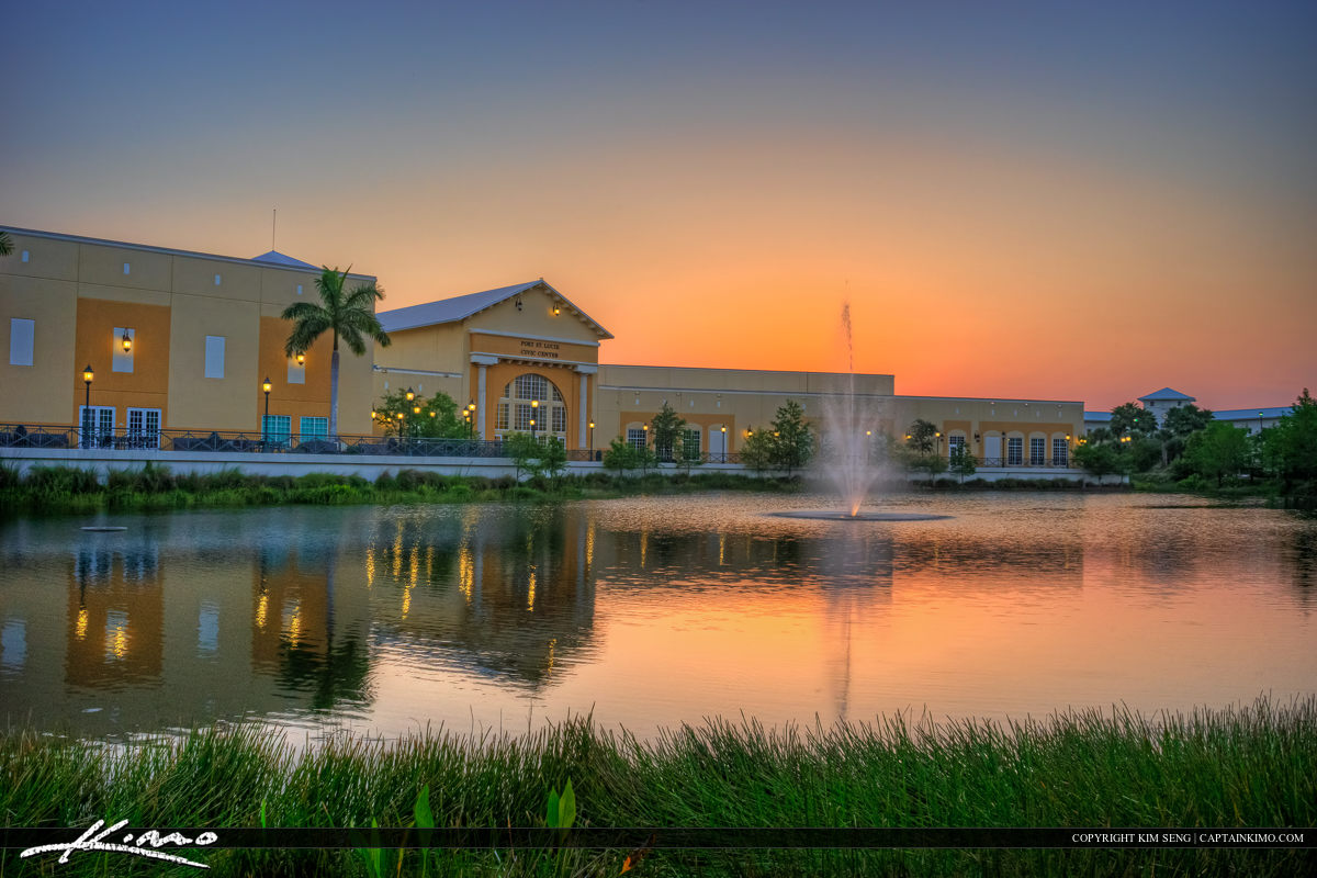 Civic Center in Port St. Lucie Florida sunset lake