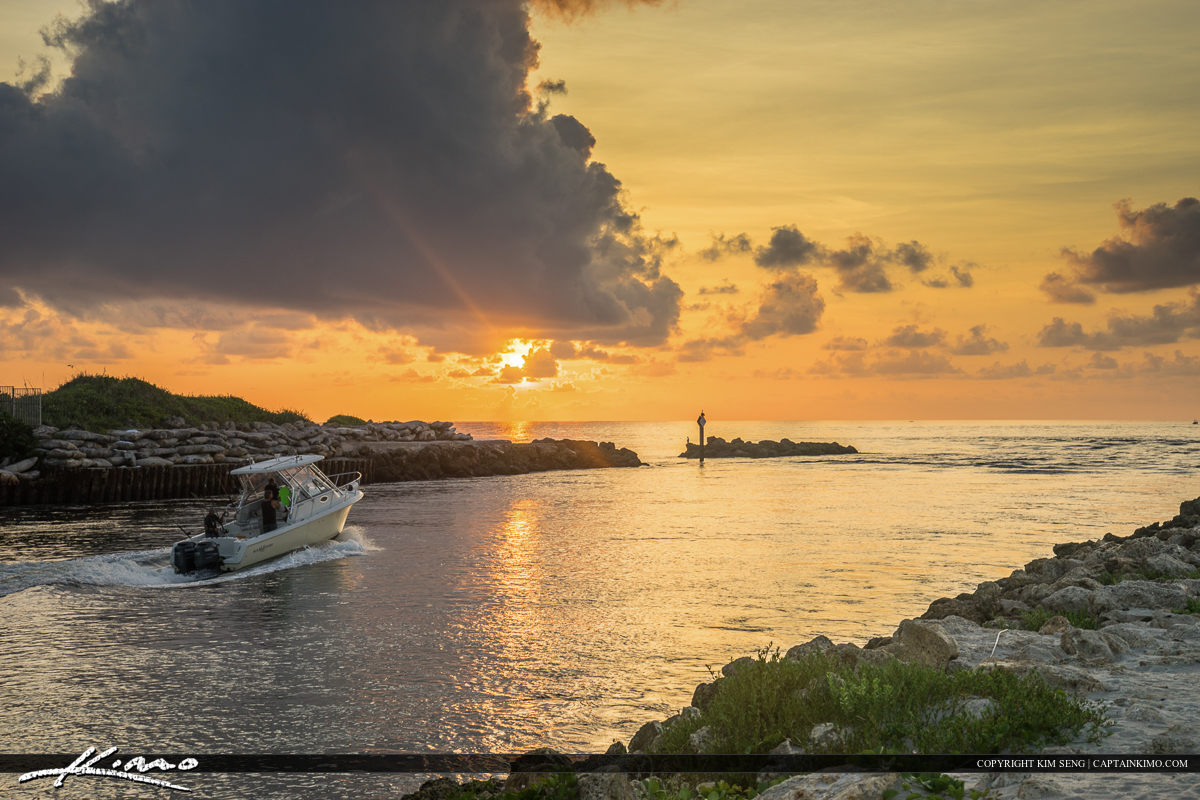 Boca Inlet and Boat Boca Raton Beach Florida