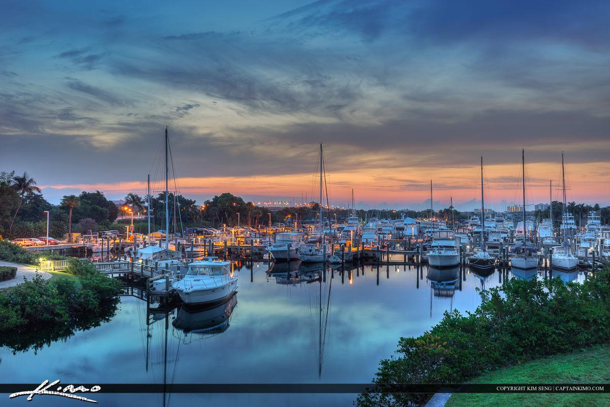 Beautiful sunrise at the Marina in Palm Beach County
