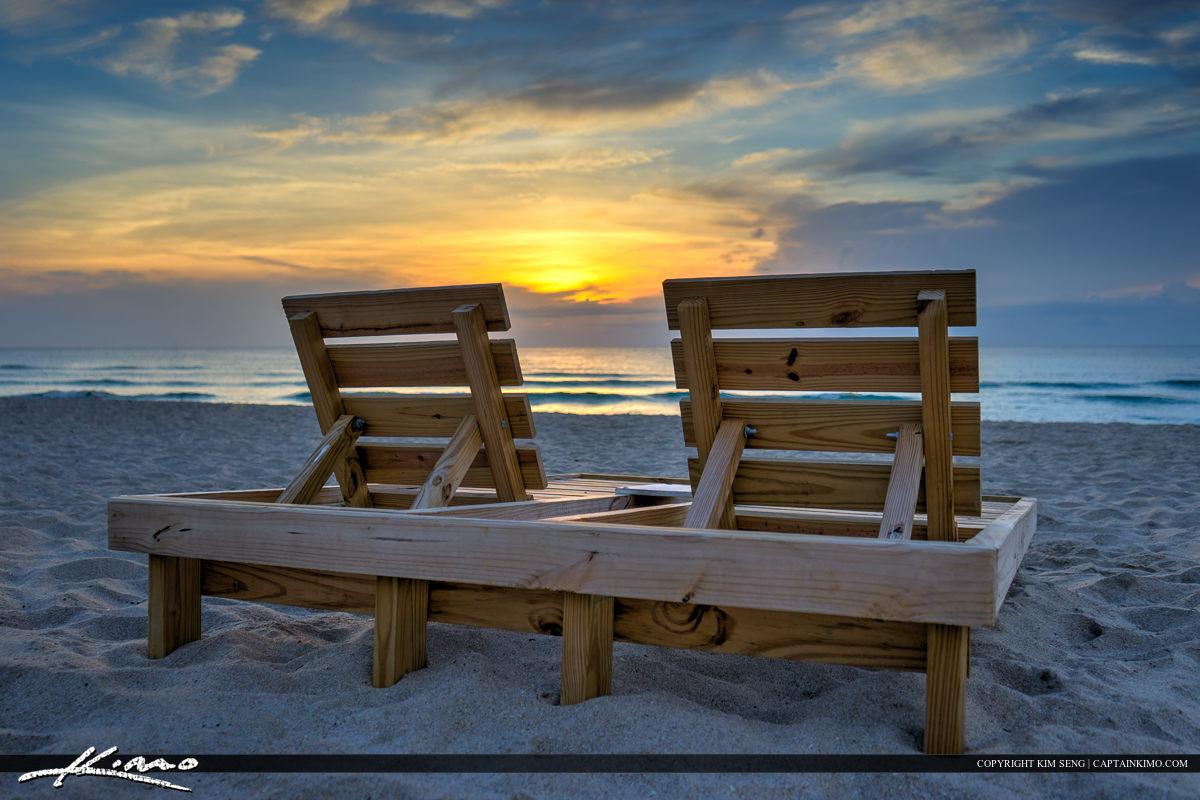 Beach Chair at Lake Worth Beach Sunrise