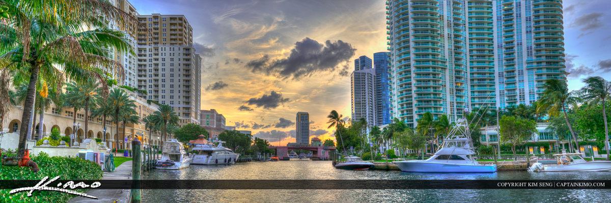 Riverwalk Panorama Sunset Bridge at Top Fort Lauderdale Flo