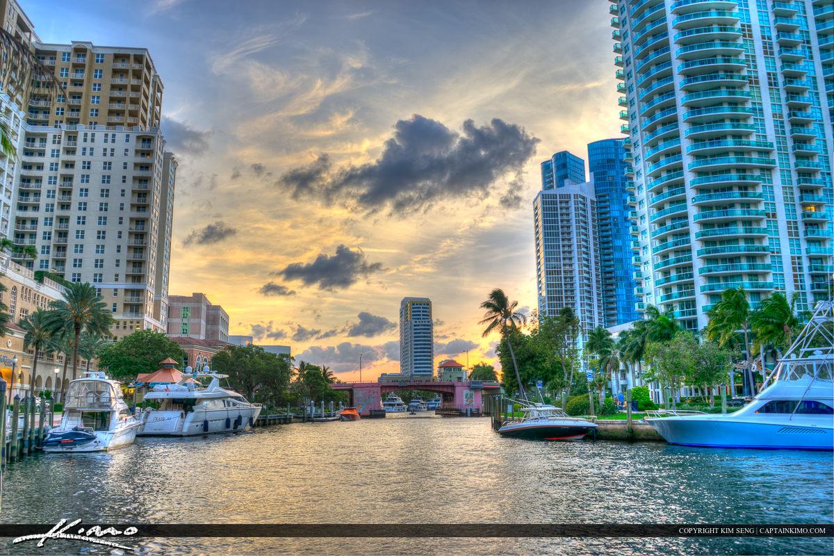 City Downtown Riverwalk Fort Lauderdale Florida Broward Cou