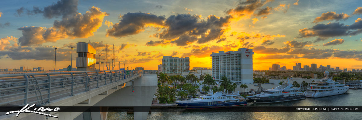 Panorama Skyline Sunset Bridge at Top Fort Lauderdale Florida