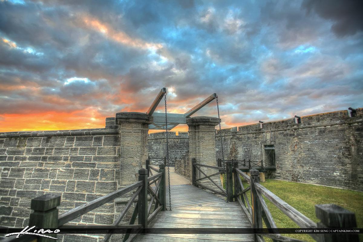 Sunset Color Entrance Castillo de San Marcos Fort St. Augus