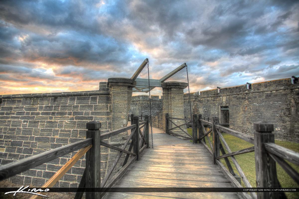 Bridge from distance Castillo de San Marcos Fort St. August