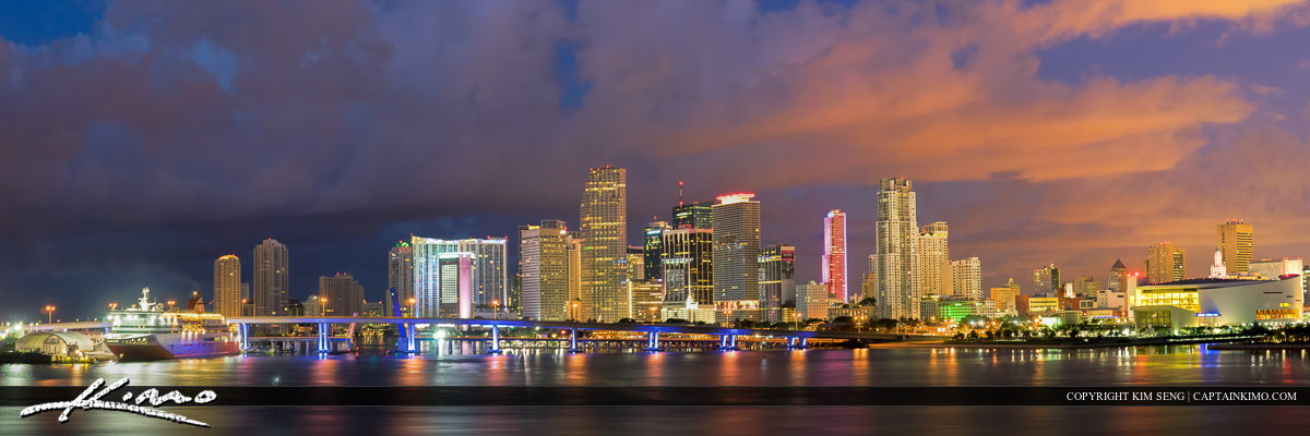Miami Skyline Panorama Close Up at Night