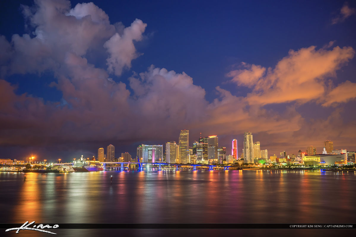 Miami Skyline at Night with Beautiful Clouds