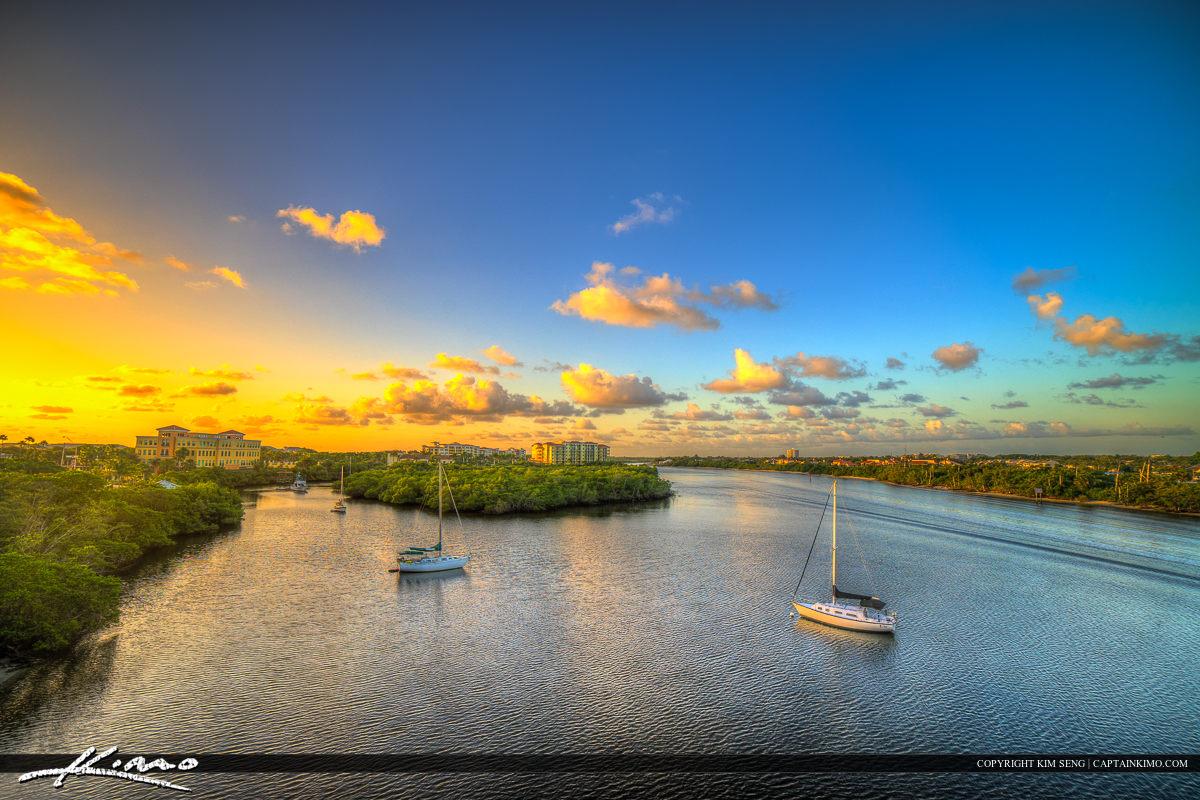 Palm Beach County Sunrise Over Jupiter Florida Waterway
