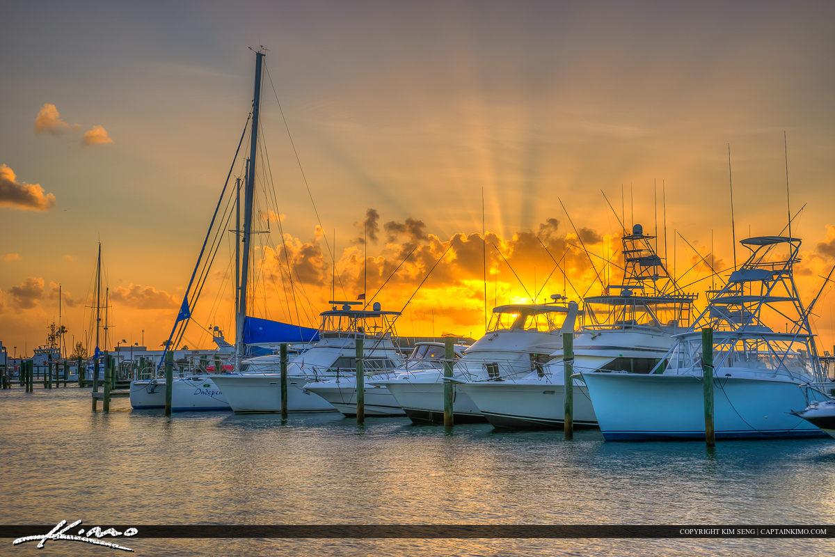 Fort Pierce Marina Sunset Boats Docked