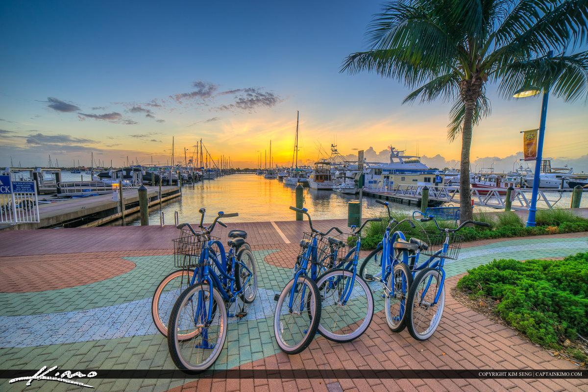 Stuart Florida Sunset with Bicycle at Marina