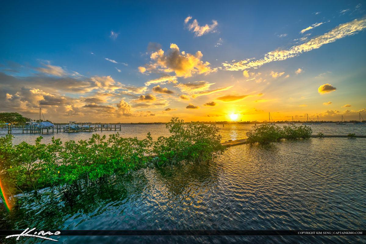 Shepard Park Stuart Martin County Sunset Over St Lucie River