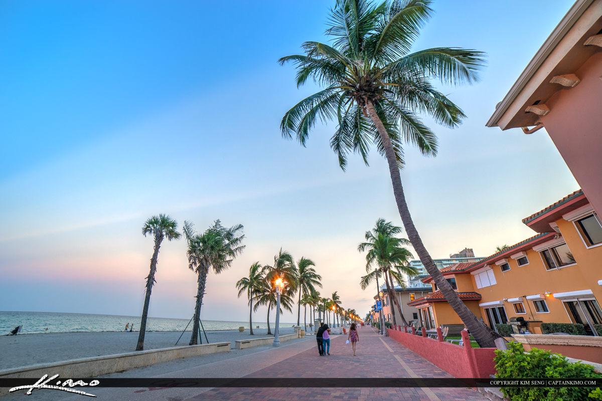 Hollywood Florida Boardwalk along the Beach