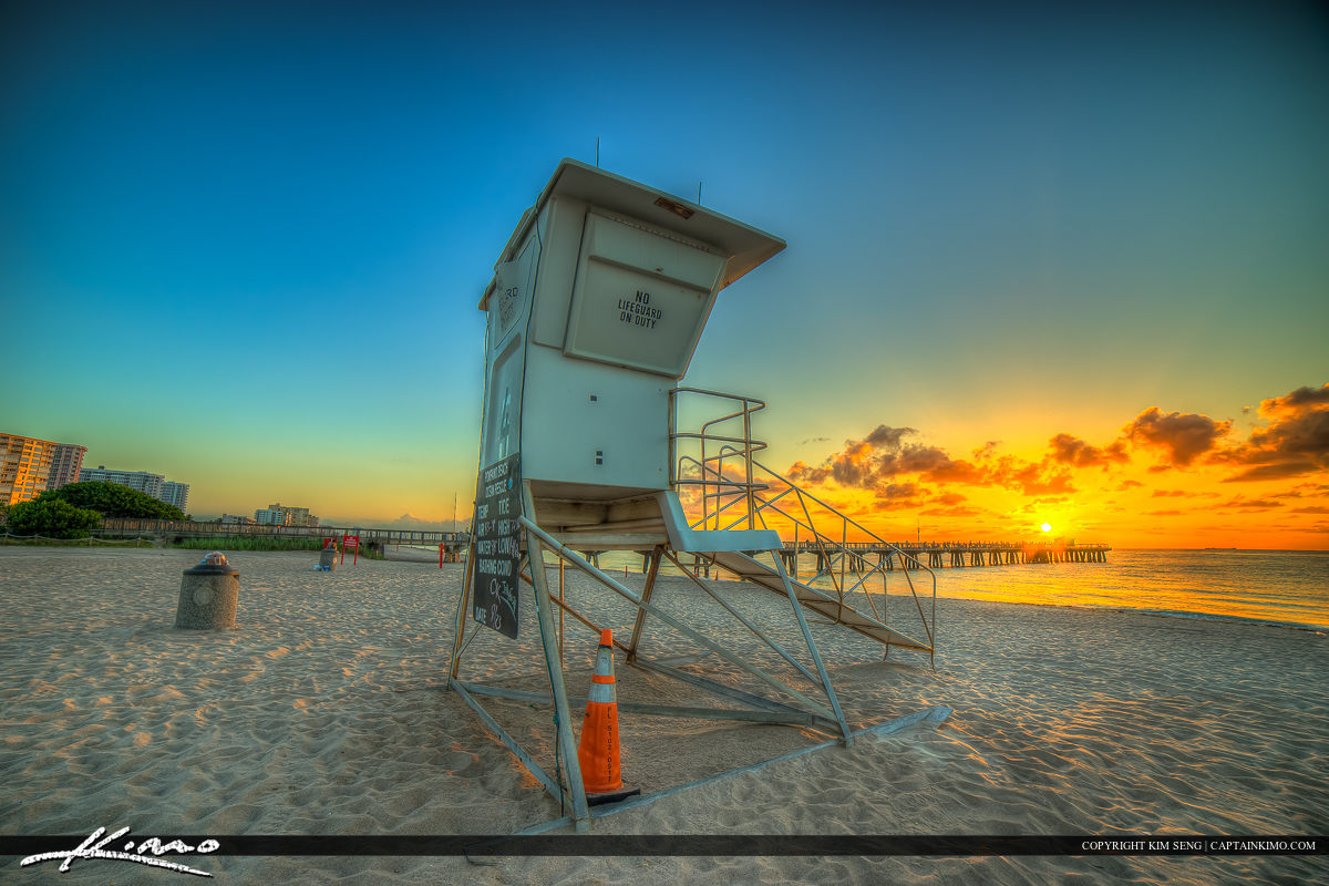 Pompano Beach Pier Broward County Florida Lifeguard Tower
