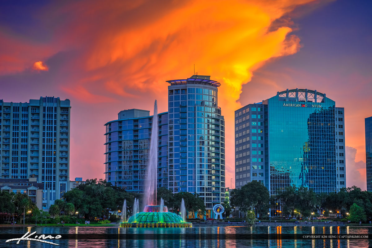 Orlando Downtown City Skyline with Color and Water Fountain